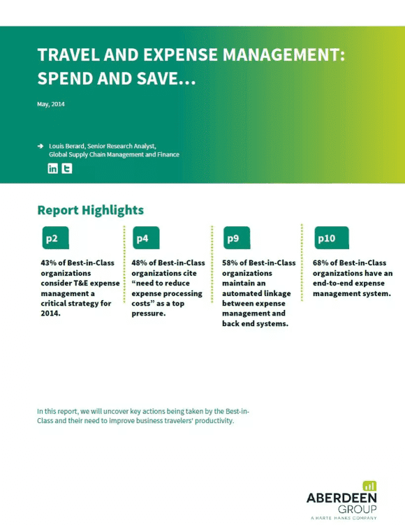 insights aberdeen report 2014 travel and expense remains a